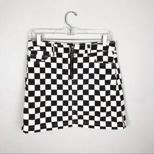 BDG Checkered Front Zip Skirt